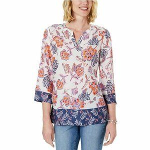 Charter Club M White Floral Mixed Top NWT F63